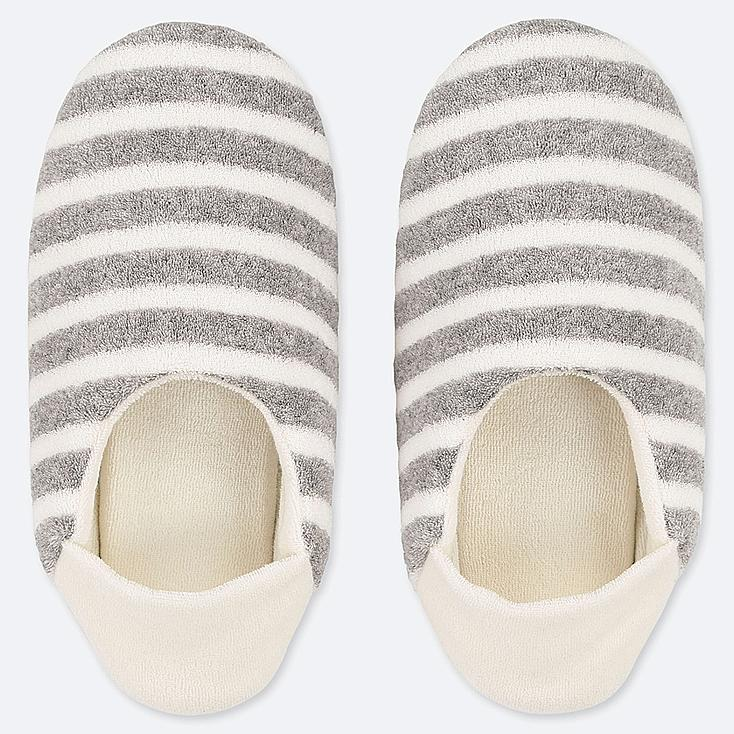 WOMEN PILE SLIPPERS, GRAY, large