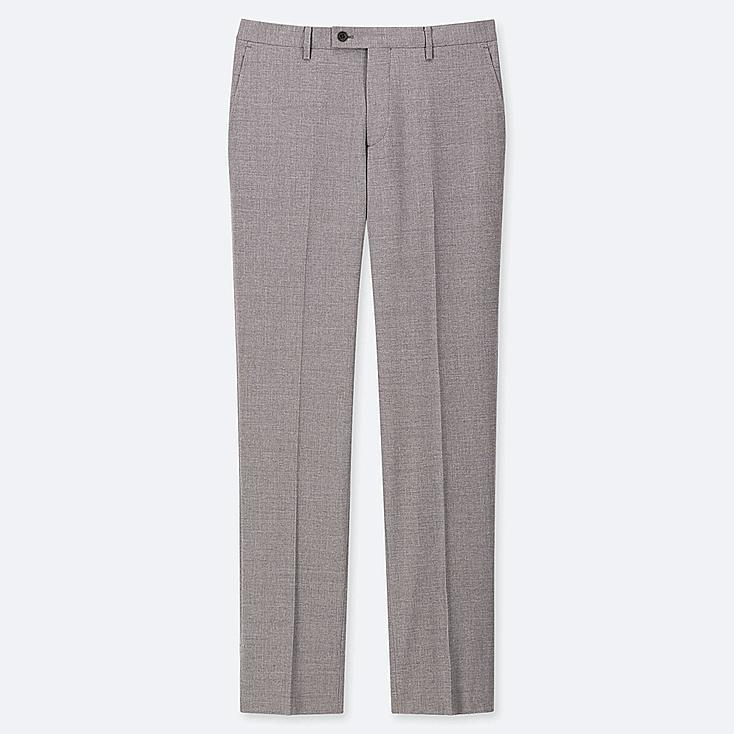 MEN STRETCH WOOL FLAT FRONT PANTS, GRAY, large