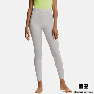 WOMEN HEATTECH RIBBED LEGGINGS (ALEXANDER WANG), GRAY, medium
