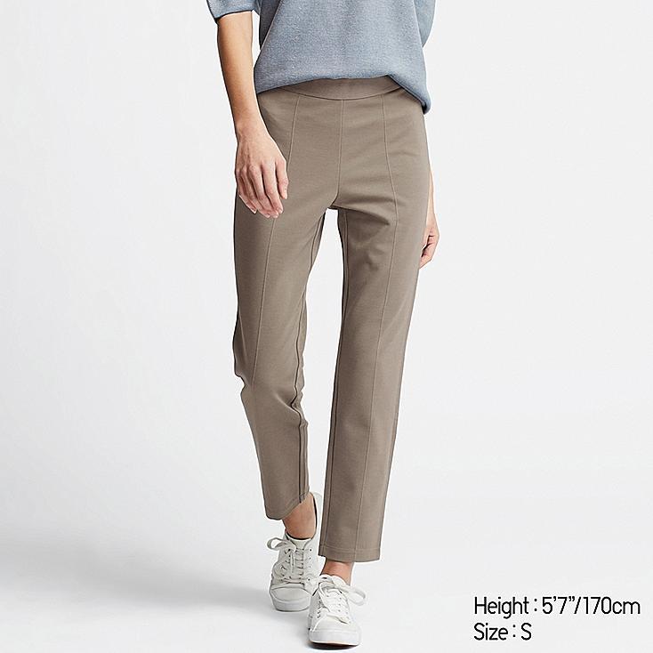 WOMEN PONTE SLIM PANTS, GRAY, large