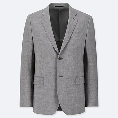 MEN STRETCH SLIM-FIT WOOL JACKET, GRAY, medium