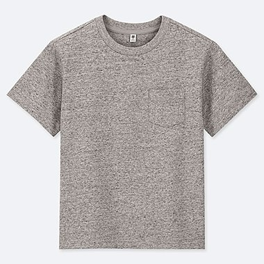 KIDS WASHED CREW NECK SHORT-SLEEVE T-SHIRT, GRAY, medium
