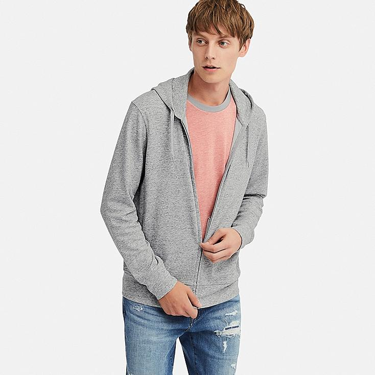 MEN AIRism UV CUT LONG-SLEEVE FULL-ZIP HOODIE, GRAY, large