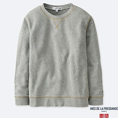 WOMEN FRENCH TERRY LONG-SLEEVE PULLOVER (INES DE LA FRESSANGE), GRAY, medium