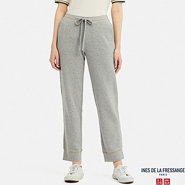 WOMEN FRENCH TERRY PANTS (INES DE LA FRESSANGE), GRAY, medium