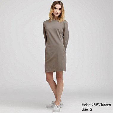 WOMEN PONTE 3/4 SLEEVE DRESS, GRAY, medium