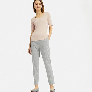 WOMEN EZY ANKLE-LENGTH PANTS (GLEN CHECK), GRAY, medium