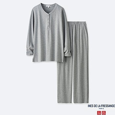 WOMEN LONG-SLEEVE JERSEY PAJAMAS (INES DE LA FRESSANGE), GRAY, medium