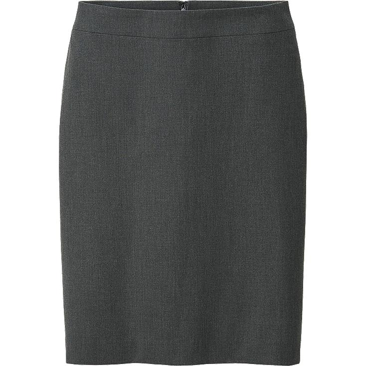 WOMEN STRETCH SKIRT, GRAY, large