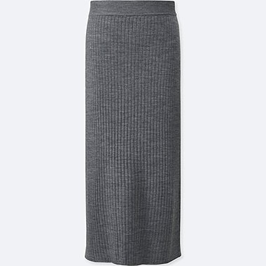 WOMEN MERINO BLEND RIBBED SKIRT, GRAY, medium