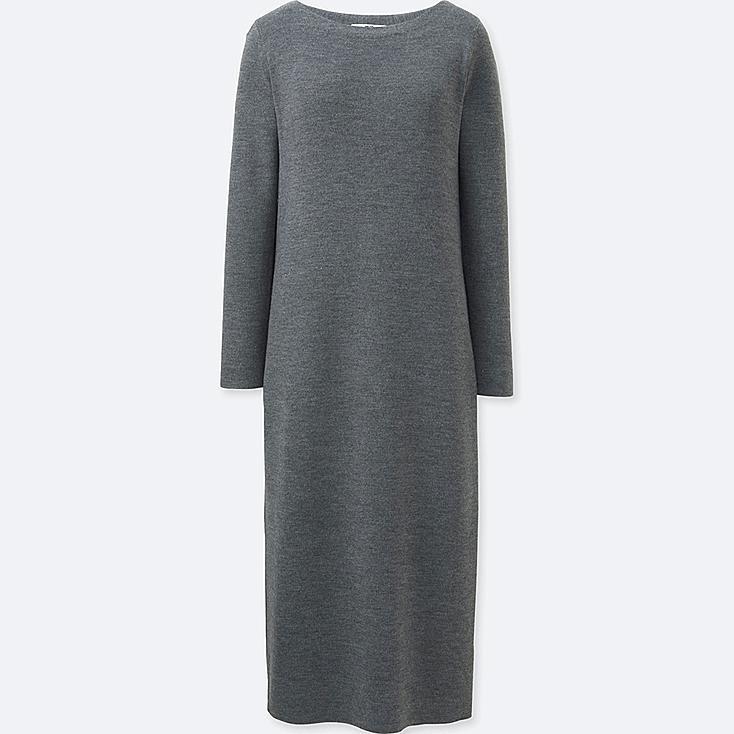 WOMEN Knit Column Long Sleeve Dress