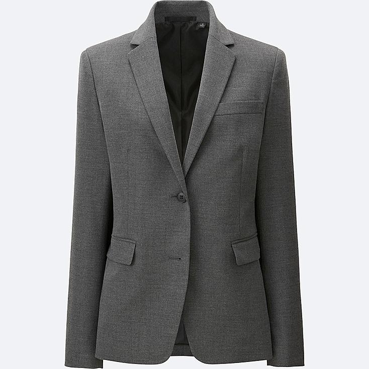 WOMEN STRETCH TAILORED JACKET (ONLINE EXCLUSIVE), GRAY, large