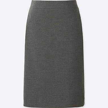 WOMEN STRETCH SKIRT, GRAY, medium