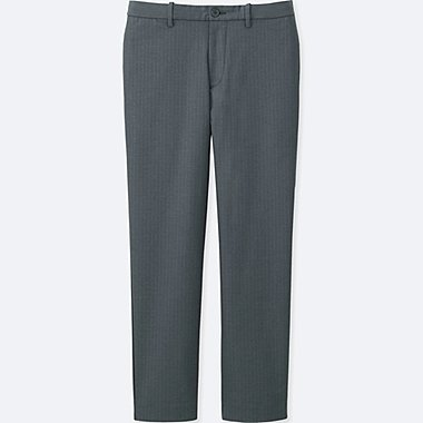MEN RELAXED ANKLE PANTS (WOOL-LIKE), GRAY, medium