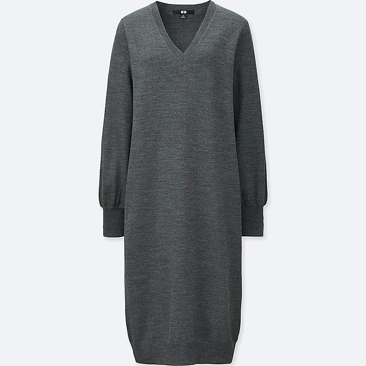 Vestido cuello pico de lana extra fina de merino MUJER