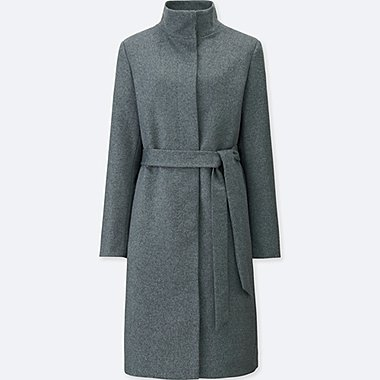 WOMEN CASHMERE BLENDED STAND COLLAR COAT, GRAY, medium