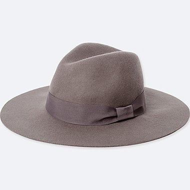WOMEN WOOL WIDE BRIM FEDORA HAT, GRAY, medium