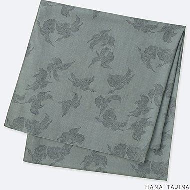 WOMEN AIRism PRINTED STOLE, GRAY, medium