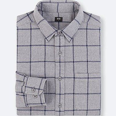 MEN FLANNEL CHECKED LONG-SLEEVE SHIRT, GRAY, medium