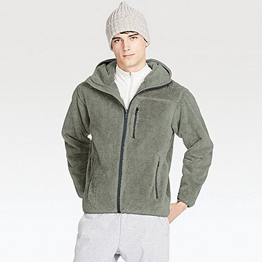MEN BLOCKTECH PILE-LINED FLEECE FULL-ZIP HOODIE, GRAY, medium