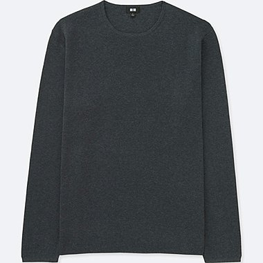 MEN MILANO RIBBED CREWNECK SWEATER (ONLINE EXCLUSIVE), GRAY, medium