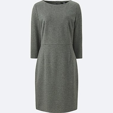 WOMEN PONTE I LINE 3/4 SLEEVE DRESS