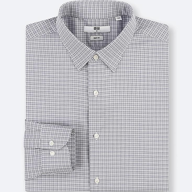 MEN EASY CARE CHECKED STRETCH SLIM-FIT LONG-SLEEVE SHIRT, GRAY, large