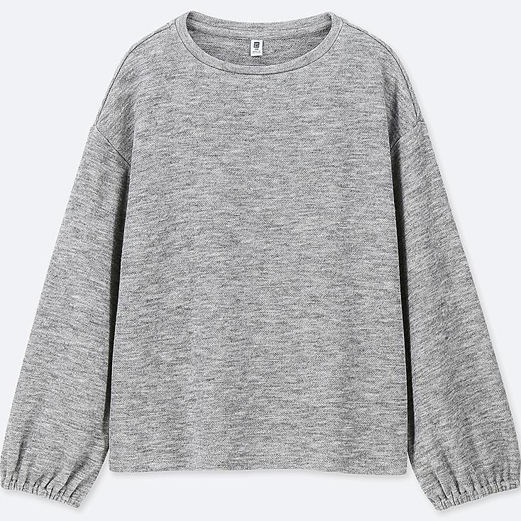 GIRLS CREW NECK GATHERED LONG-SLEEVE T-SHIRT, GRAY, large