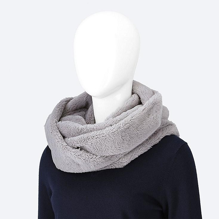 WOMEN FAUX SHEARLING SNOOD, GRAY, large