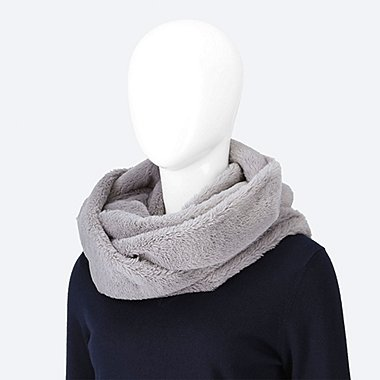 WOMEN FAUX SHEARLING SNOOD, GRAY, medium
