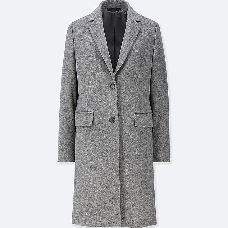 WOMEN CASHMERE BLENDED CHESTER COAT, GRAY, large
