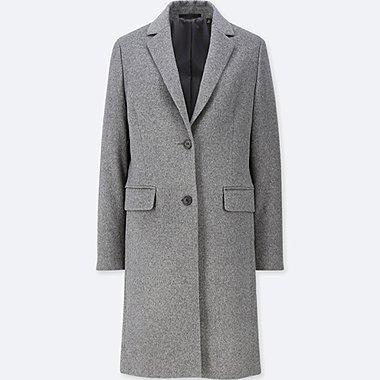 WOMEN CASHMERE BLENDED CHESTER COAT, GRAY, medium
