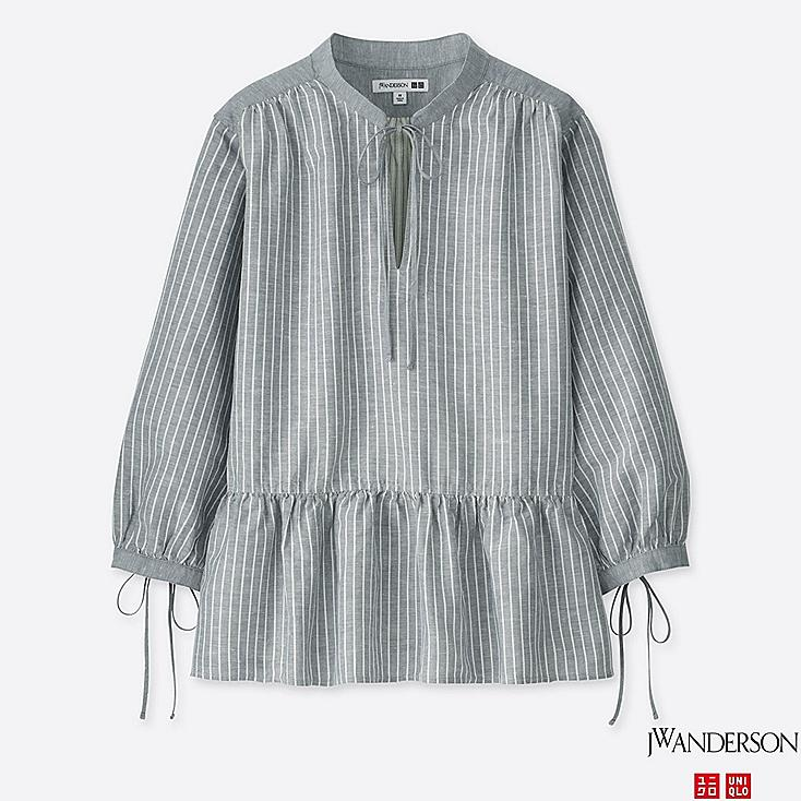 WOMEN JWA LINEN COTTON STRIPED 3/4 SLEEVE BLOUSE, GRAY, large