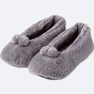 WOMEN FAUX SHEARLING BALLET SLIPPERS, GRAY, medium