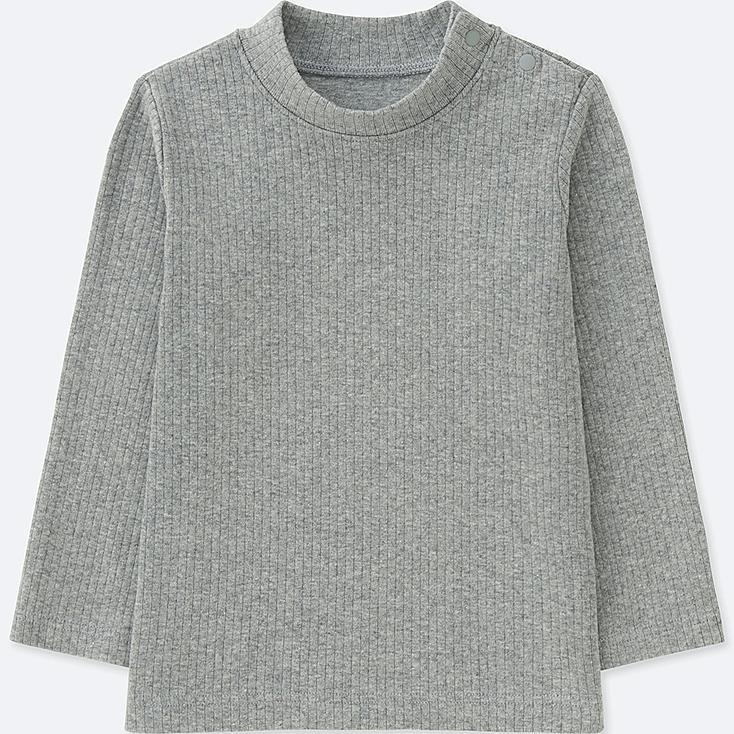 TODDLER RIBBED HIGH-NECK LONG-SLEEVE T-SHIRT, GRAY, large