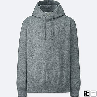 MEN U LONG-SLEEVE HOODED SWEATSHIRT, GRAY, medium