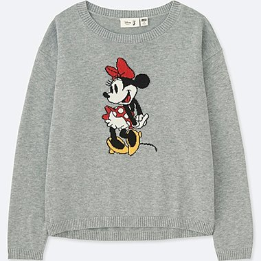 KIDS DISNEY COLLECTION CREWNECK LONG-SLEEVE SWEATER, GRAY, medium