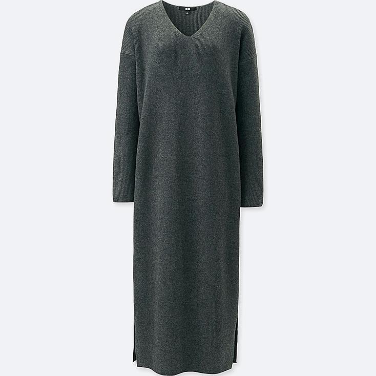 WOMEN RIBBED V-NECK LONG-SLEEVE KNIT DRESS, GRAY, large