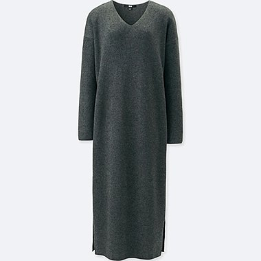 WOMEN RIBBED V-NECK LONG-SLEEVE KNIT DRESS, GRAY, medium