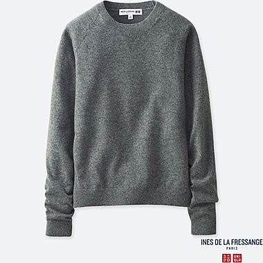 WOMEN CASHMERE CREWNECK SWEATER (INES DE LA FRESSANGE), GRAY, medium