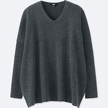 WOMEN RIBBED BOXY V NECK LONG SWEATER