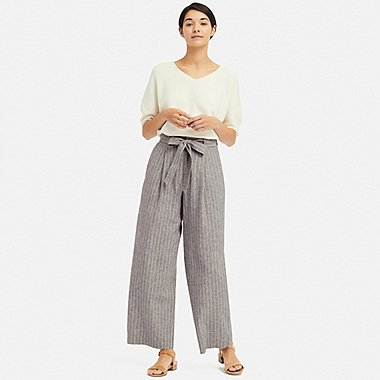 WOMEN BELTED LINEN COTTON WIDE STRAIGHT PANTS, GRAY, medium