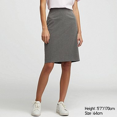 WOMEN STRETCH SKIRT (ONLINE EXCLUSIVE), GRAY, medium