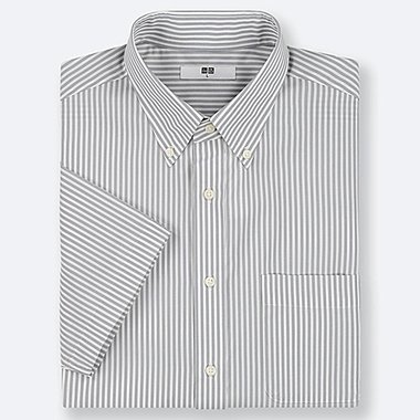 MEN DRY EASY CARE STRIPED SHORT-SLEEVE SHIRT (ONLINE EXCLUSIVE), GRAY, medium