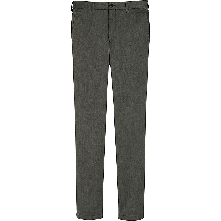 MEN SLIM FIT CHINO FLAT FRONT PANTS, GRAY, large
