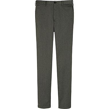 MEN SLIM FIT CHINO FLAT FRONT PANTS, GRAY, medium