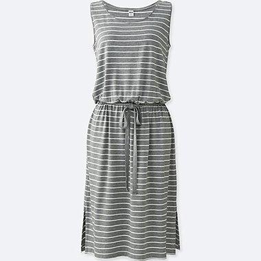 Womens Viscose Jersey Printed Sleeveless Dress, GRAY, medium