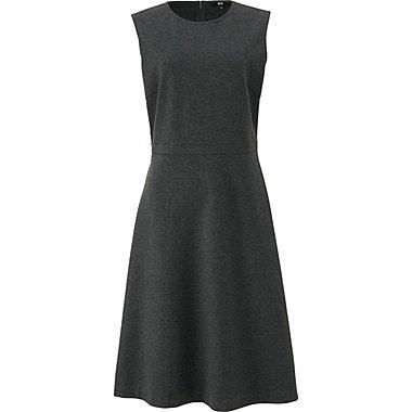 WOMEN PONTE FLARE SLEEVELESS DRESS, GRAY, medium