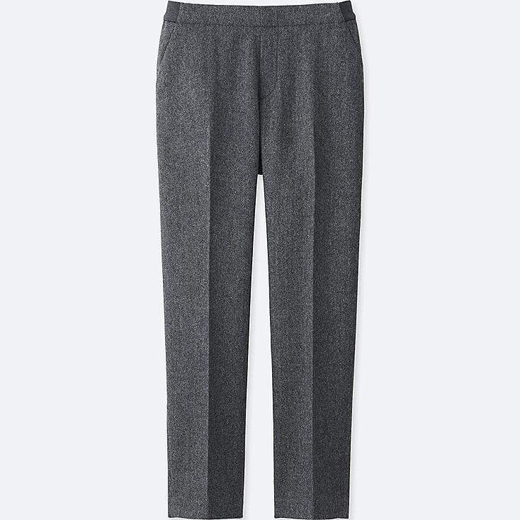 WOMEN TWEED ANKLE LENGTH PANTS, GRAY, large