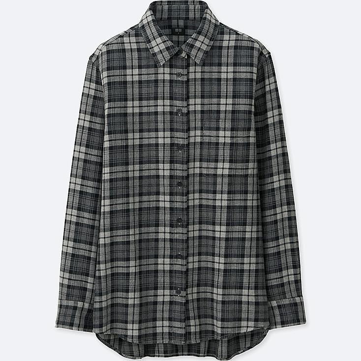 WOMEN FLANNEL CHECK LONG SLEEVE SHIRT, GRAY, large